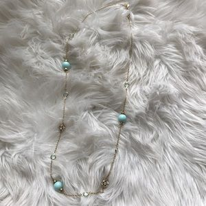 Long gold and turquoise J. Crew Factory necklace